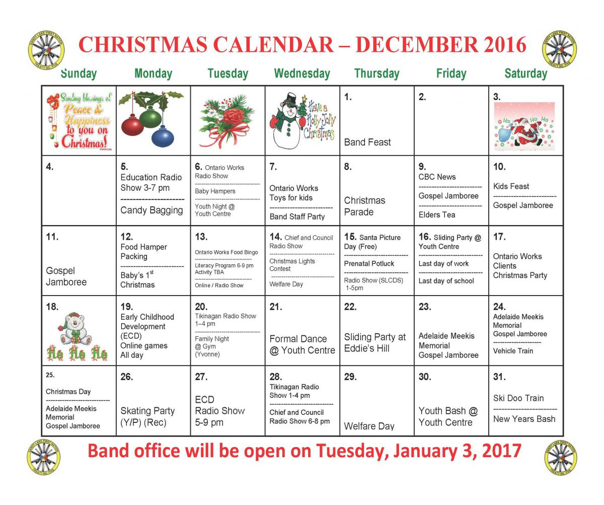 Christmas Calendar 2016 : Christmas calendar sandy lake first nation
